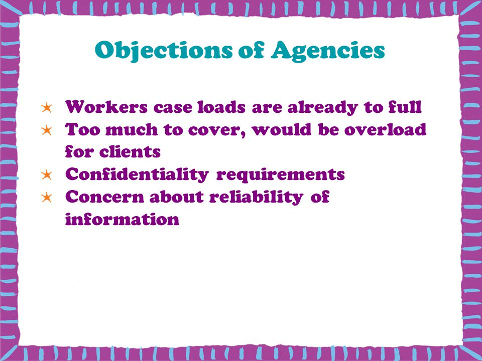 Objections of Agencies