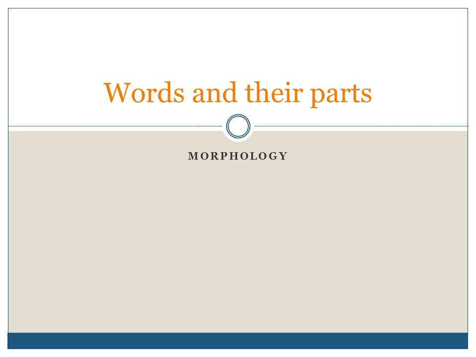 Words and their parts Morphology