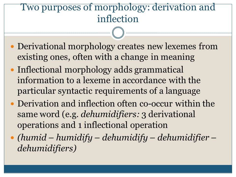 Two purposes of morphology: derivation and inflection