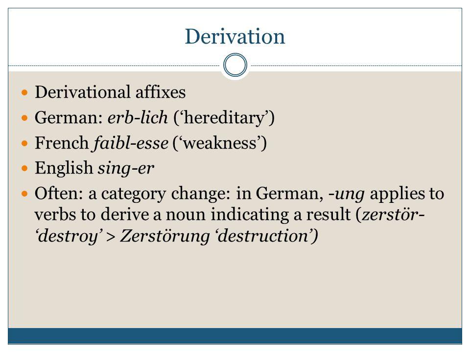 Derivation Derivational affixes German: erb-lich ('hereditary')