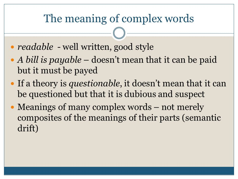 The meaning of complex words