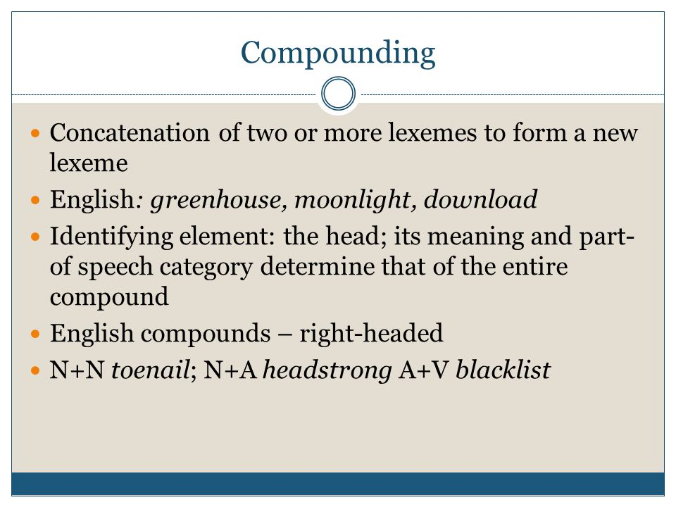 Compounding Concatenation of two or more lexemes to form a new lexeme