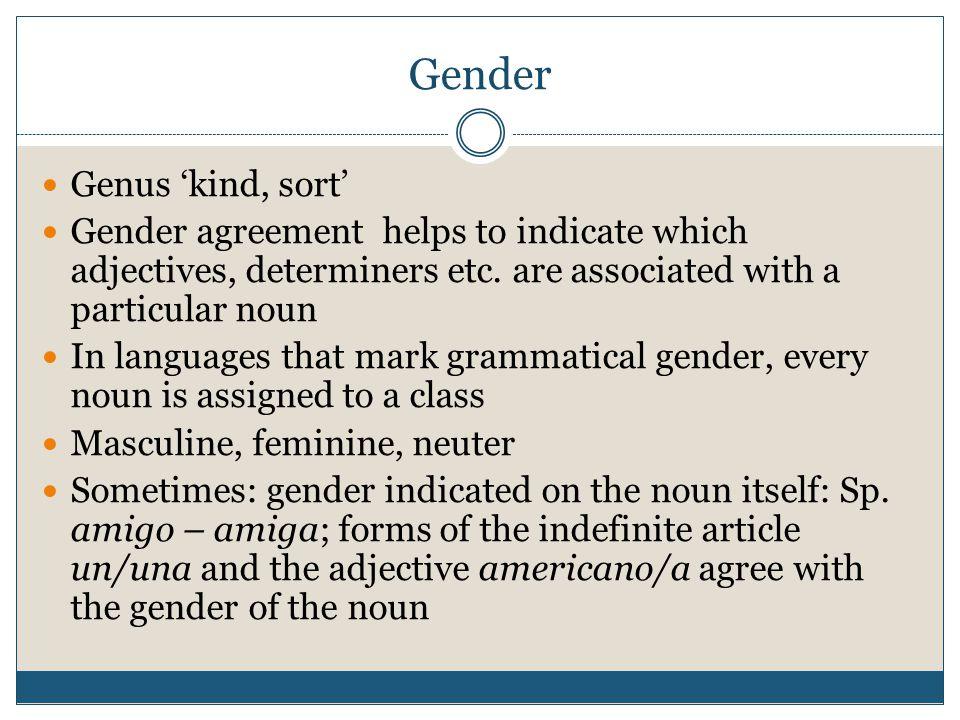 Gender Genus 'kind, sort'