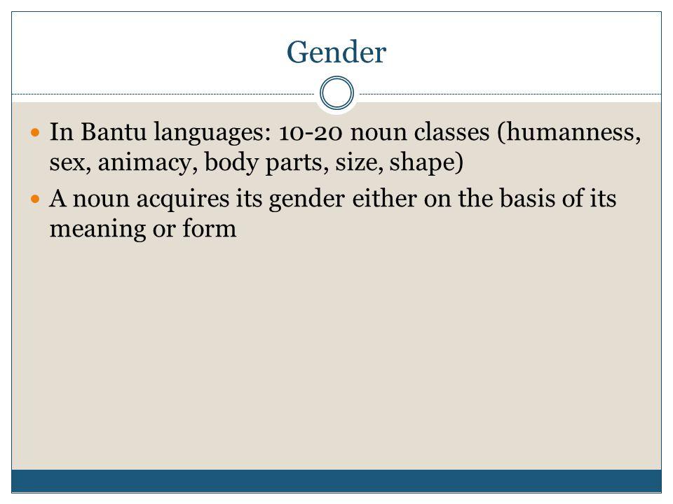 Gender In Bantu languages: 10-20 noun classes (humanness, sex, animacy, body parts, size, shape)