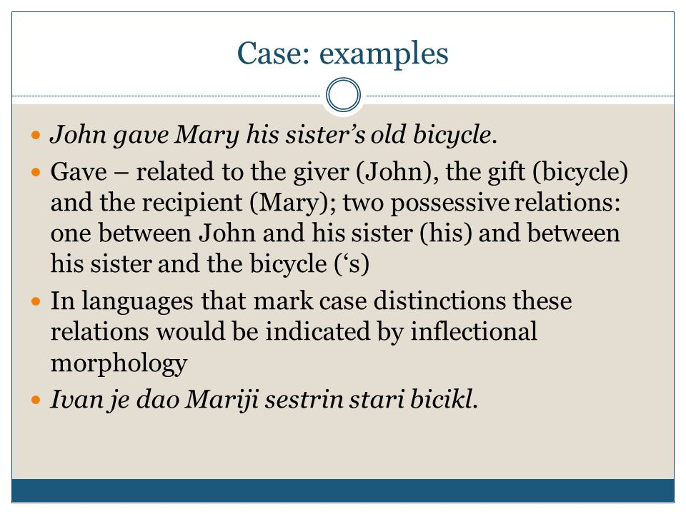 Case: examples John gave Mary his sister's old bicycle.