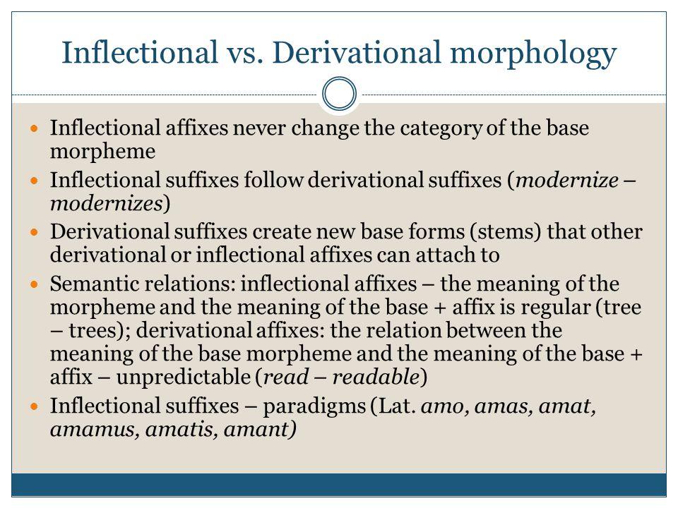 Inflectional vs. Derivational morphology