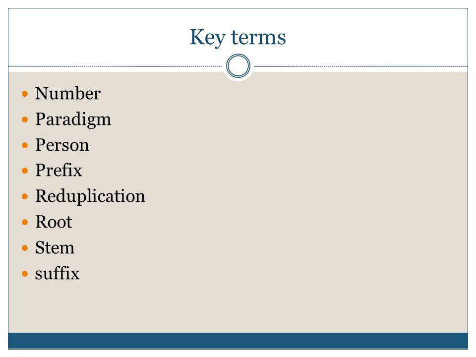 Key terms Number Paradigm Person Prefix Reduplication Root Stem suffix