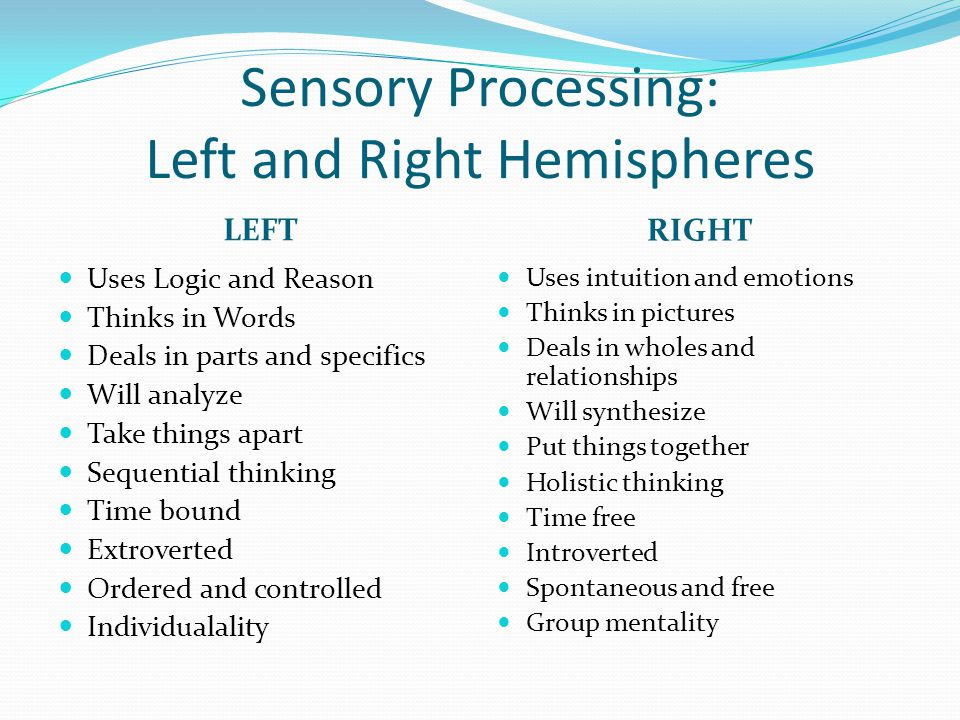 Sensory Processing: Left and Right Hemispheres