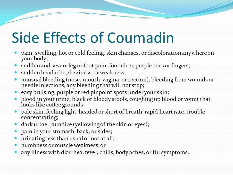 Side Effects of Coumadin