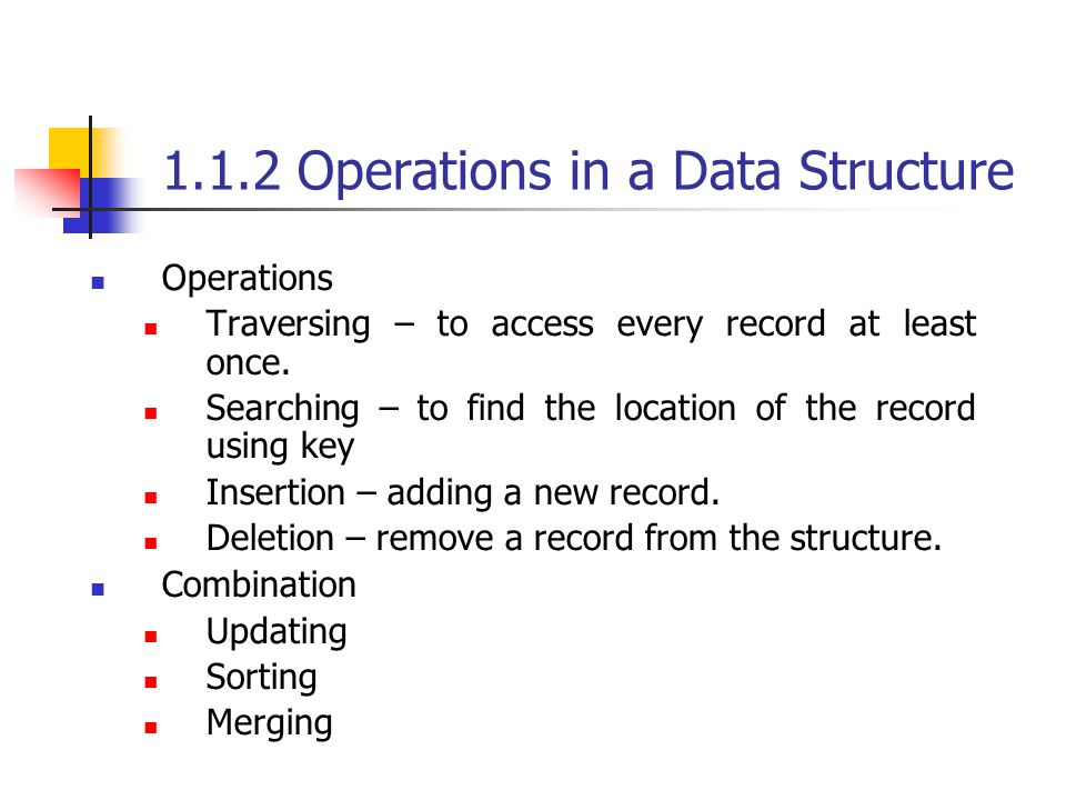 1.1.2 Operations in a Data Structure