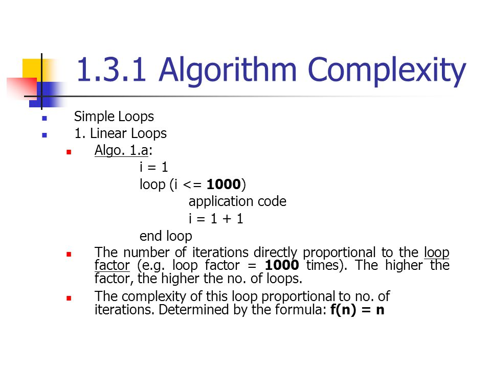 1.3.1 Algorithm Complexity Simple Loops 1. Linear Loops Algo. 1.a: