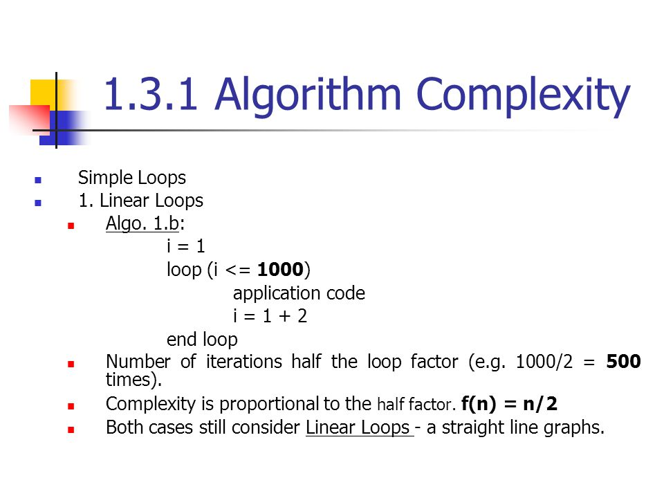 1.3.1 Algorithm Complexity Simple Loops 1. Linear Loops Algo. 1.b: