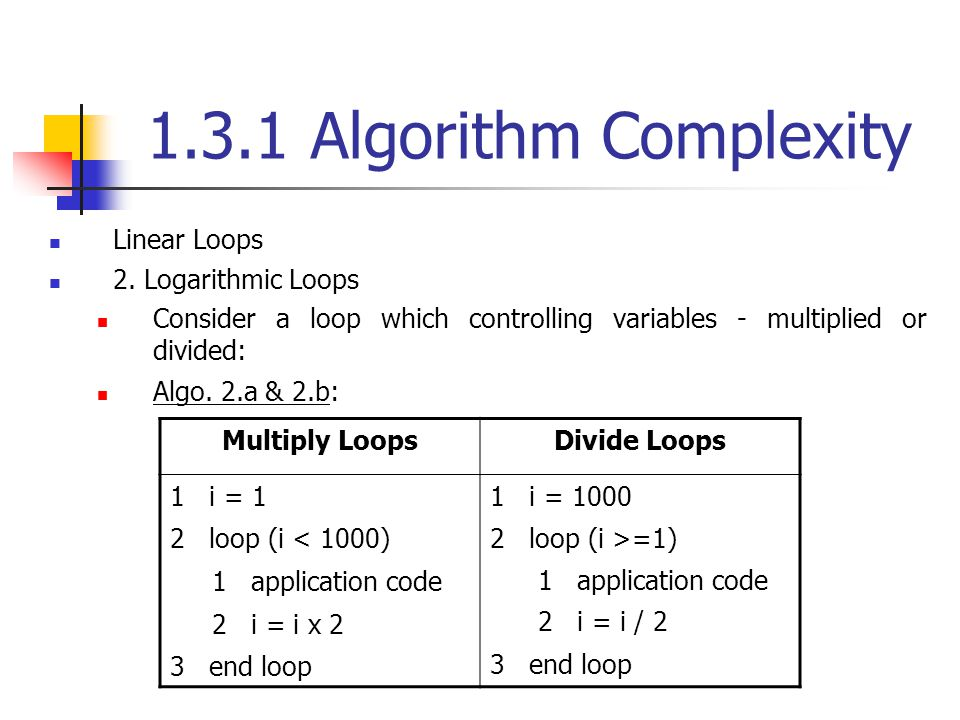 1.3.1 Algorithm Complexity Linear Loops 2. Logarithmic Loops