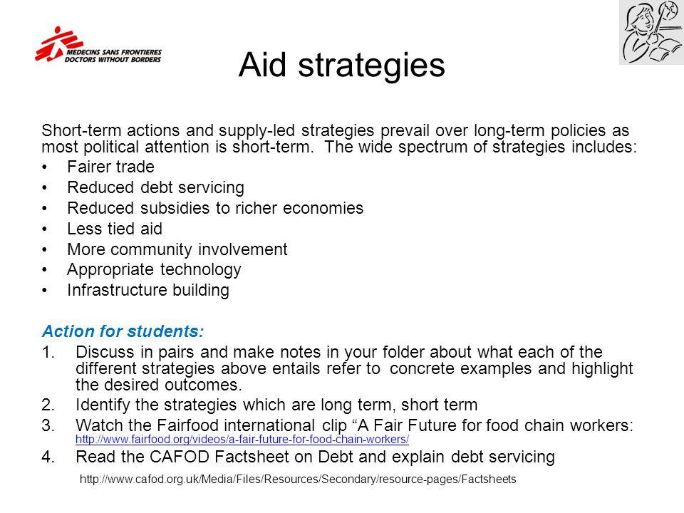 Aid strategies