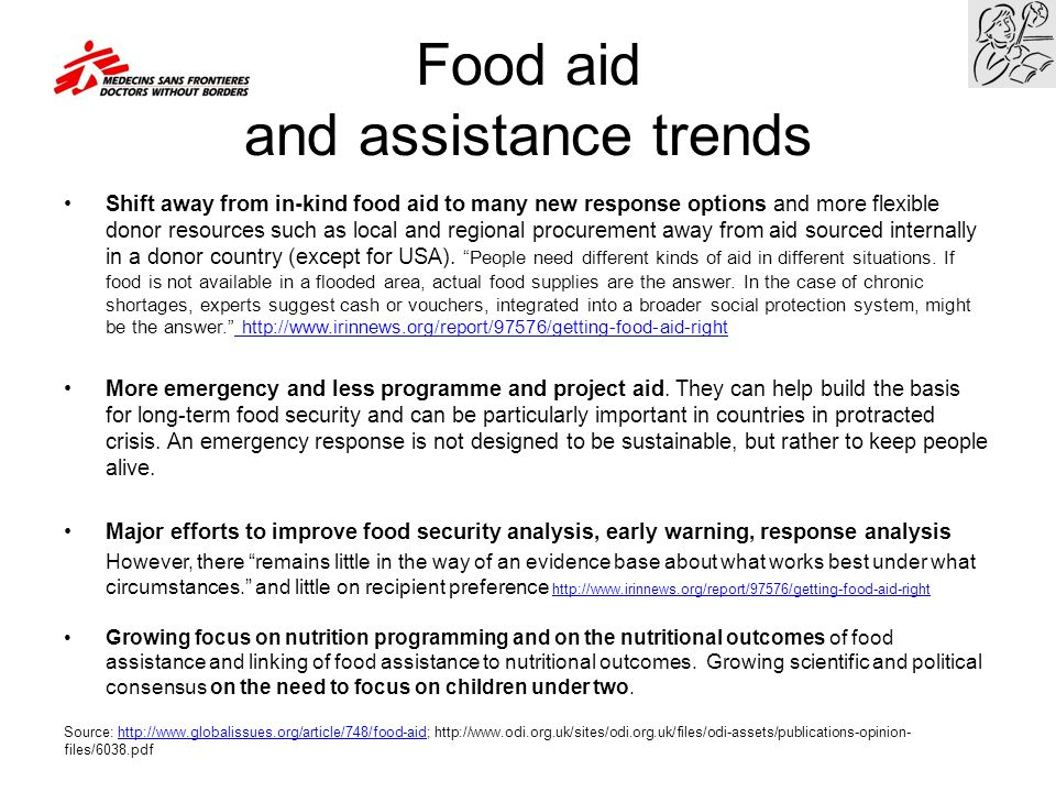 Food aid and assistance trends