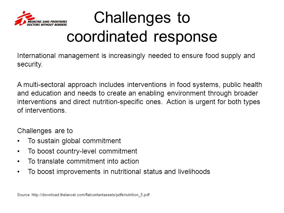 Challenges to coordinated response