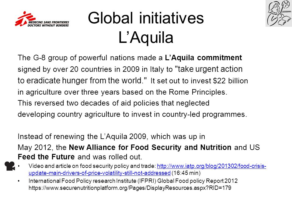 Global initiatives L'Aquila