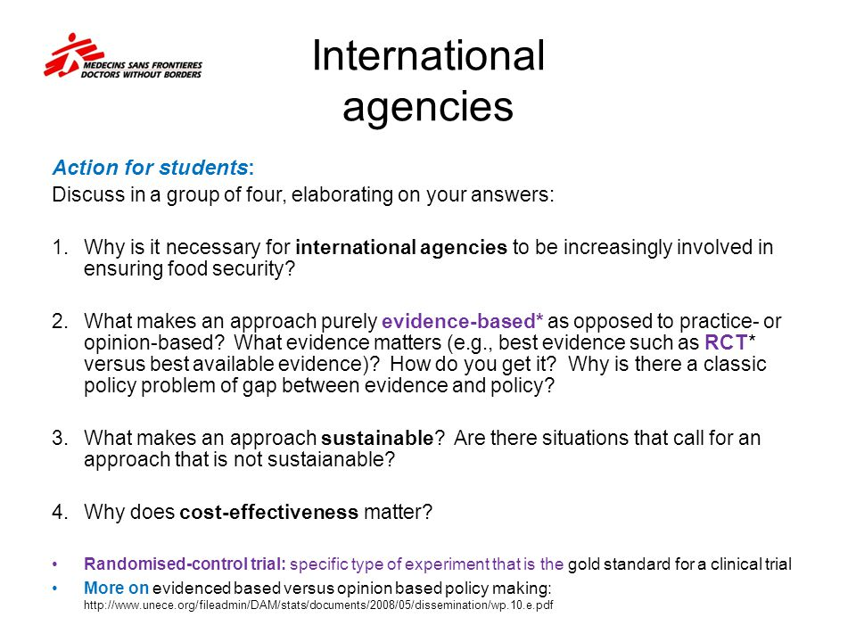 International agencies