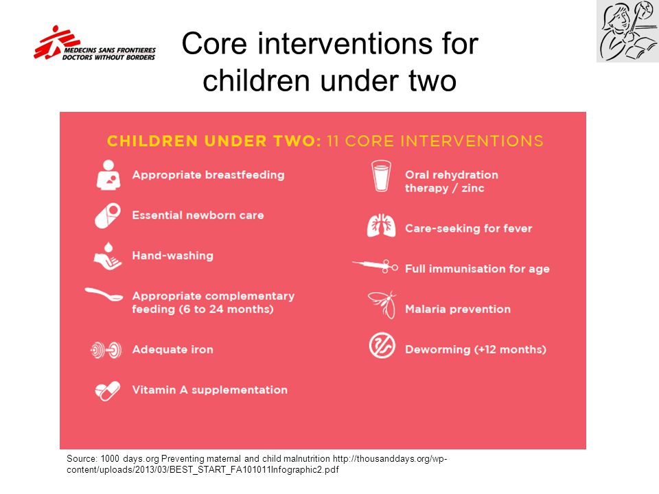 Core interventions for children under two