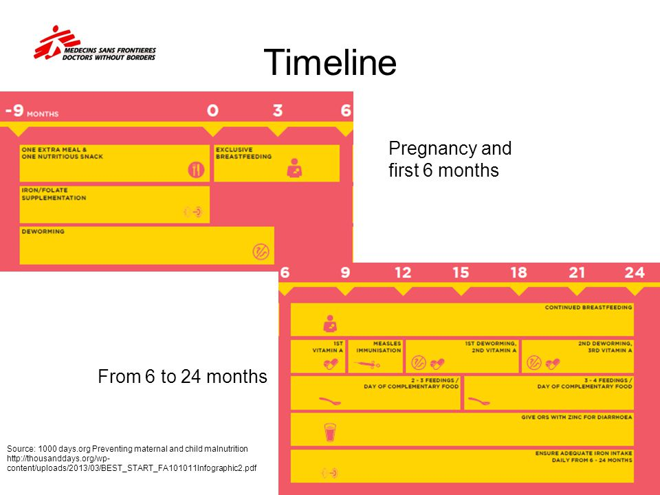 Timeline Pregnancy and first 6 months From 6 to 24 months