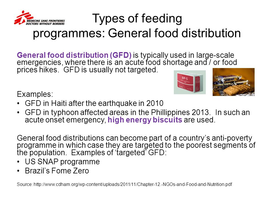 Types of feeding programmes: General food distribution
