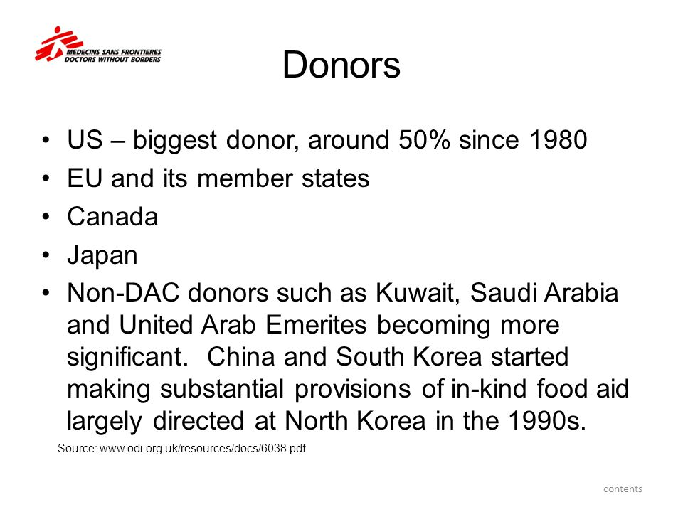 Donors US – biggest donor, around 50% since 1980