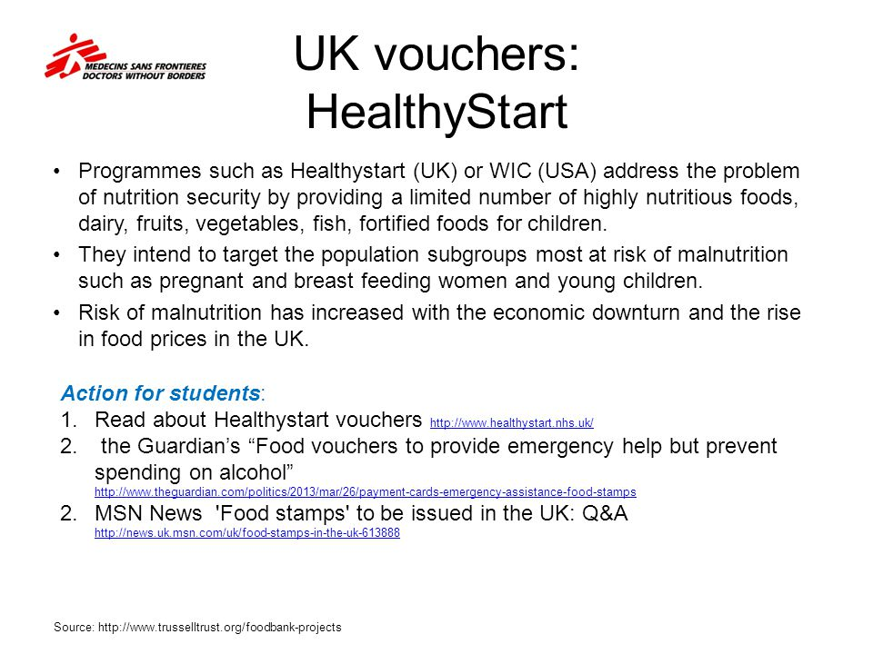 UK vouchers: HealthyStart