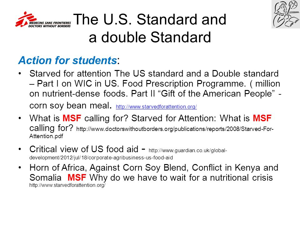 The U.S. Standard and a double Standard