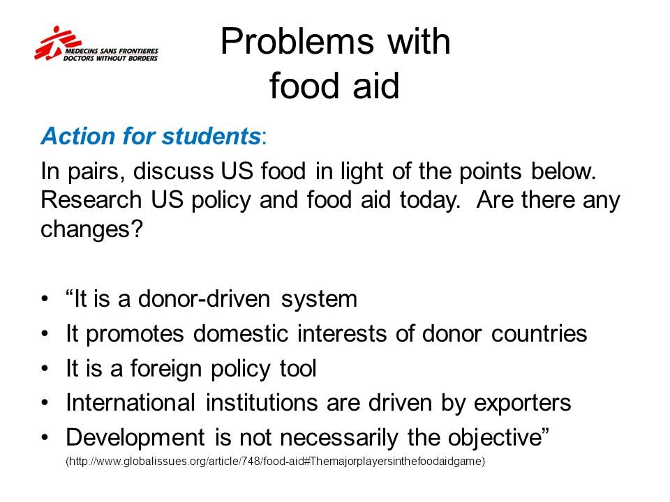 Problems with food aid Action for students: