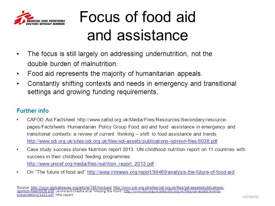 Focus of food aid and assistance