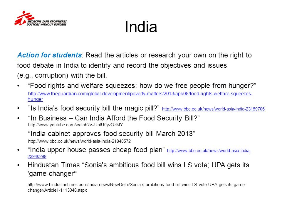India Action for students: Read the articles or research your own on the right to.