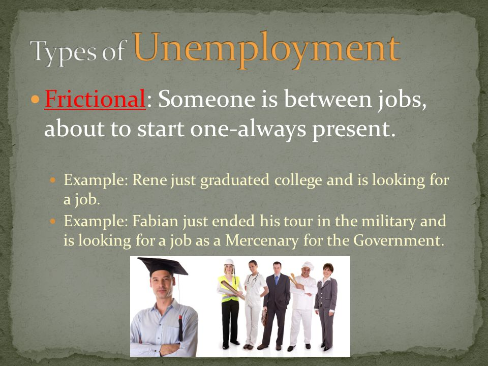 Types of Unemployment Frictional: Someone is between jobs, about to start one-always present.