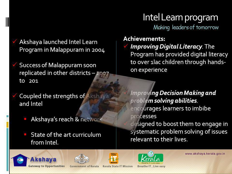 Intel Learn program Making leaders of tomorrow