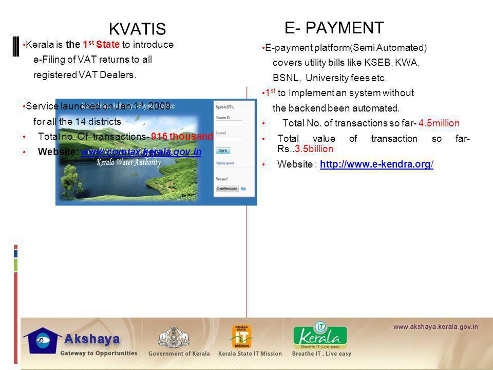 E- PAYMENT KVATIS Kerala is the 1st State to introduce