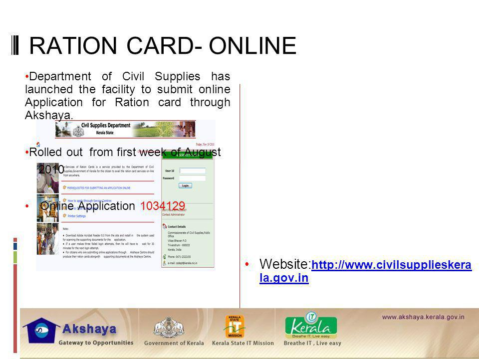 RATION CARD- ONLINE Website:http://www.civilsupplieskerala.gov.in