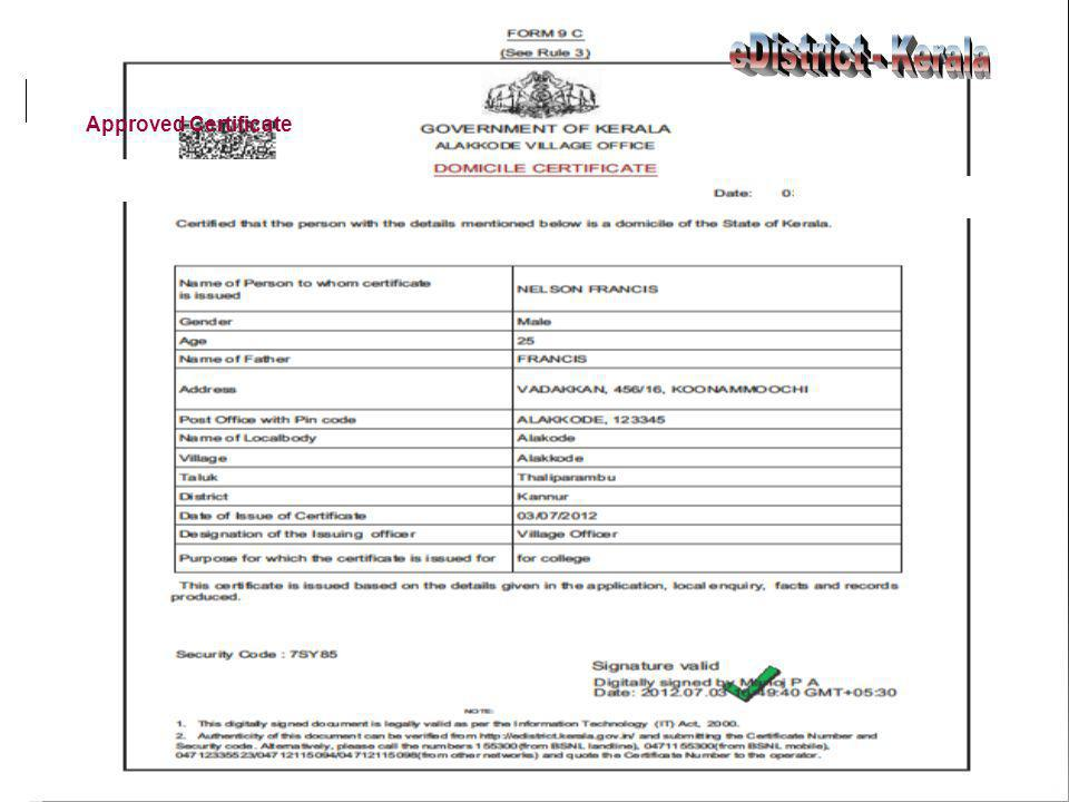 eDistrict - Kerala Approved Certificate