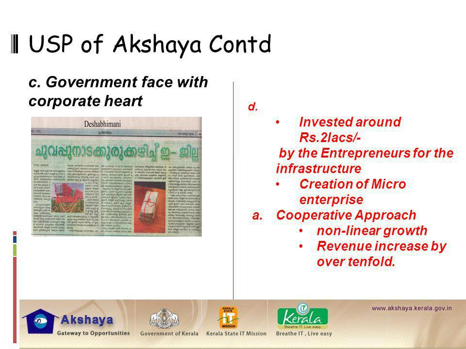 USP of Akshaya Contd c. Government face with corporate heart