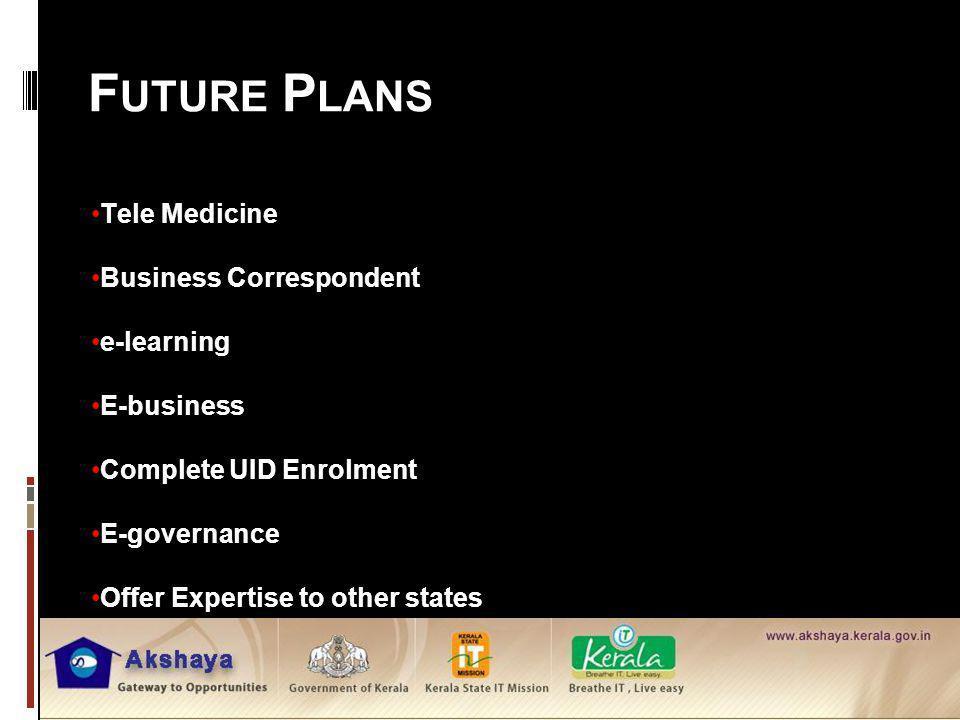 Future Plans Tele Medicine Business Correspondent e-learning
