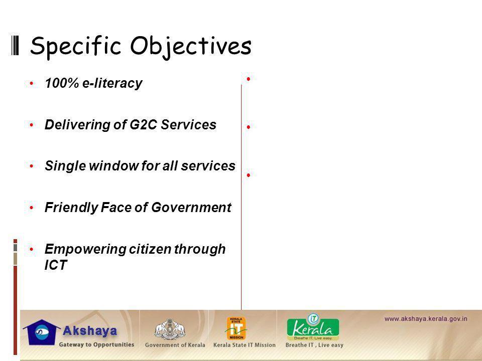 Specific Objectives Sustainability of Akshaya Entrepreneurs