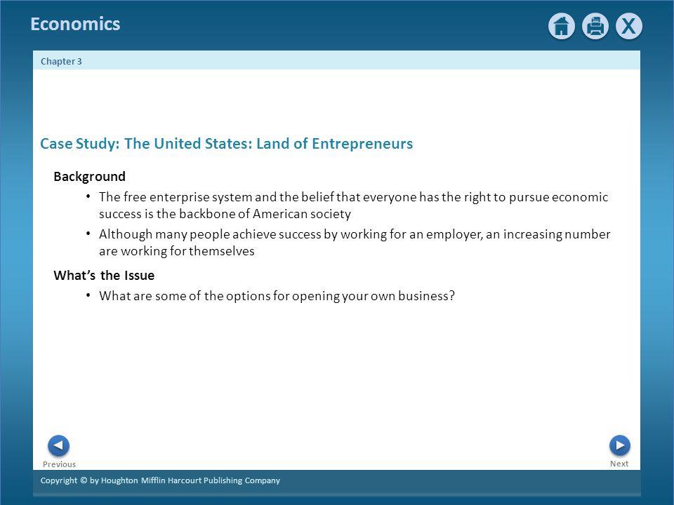 Case Study: The United States: Land of Entrepreneurs