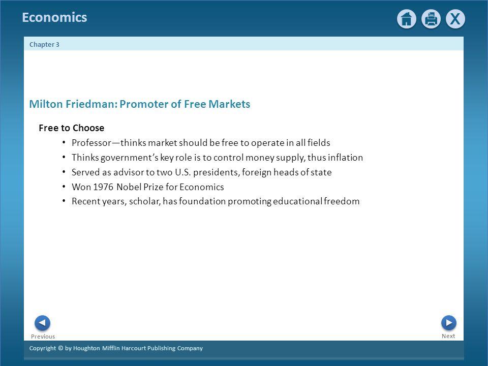 Milton Friedman: Promoter of Free Markets