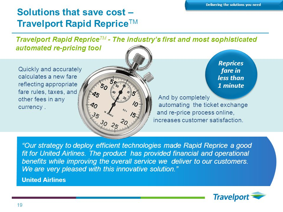 Solutions that save cost – Travelport Rapid RepriceTM