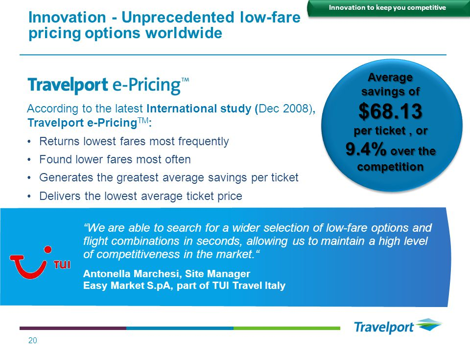 Innovation - Unprecedented low-fare pricing options worldwide
