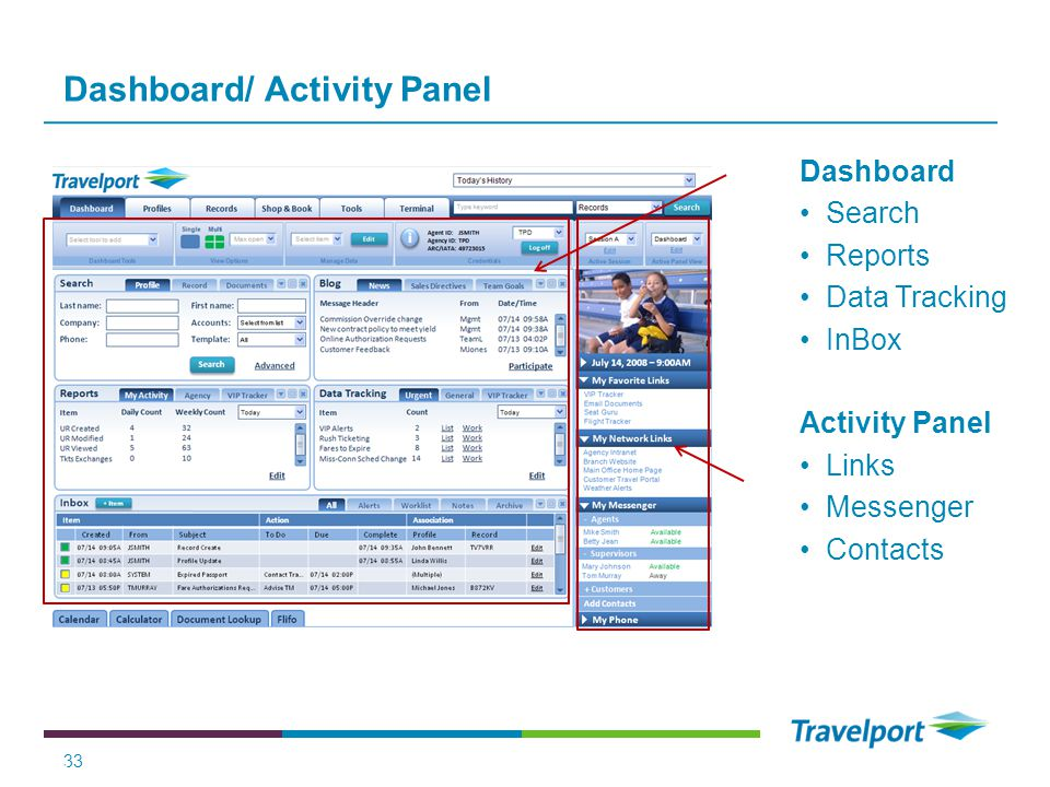Dashboard/ Activity Panel