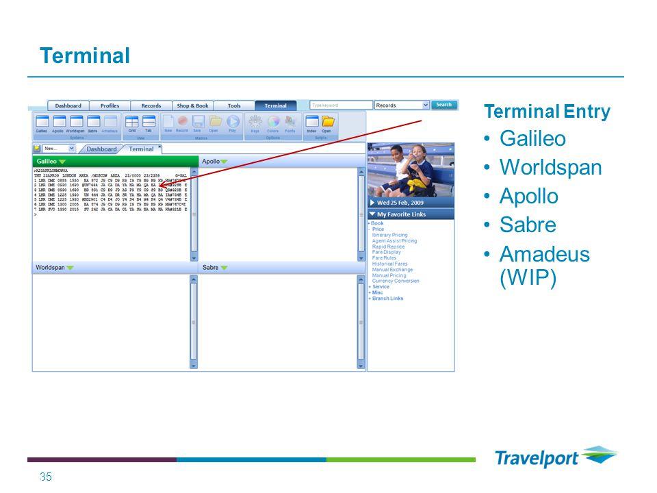 Terminal Galileo Worldspan Apollo Sabre Amadeus (WIP) Terminal Entry