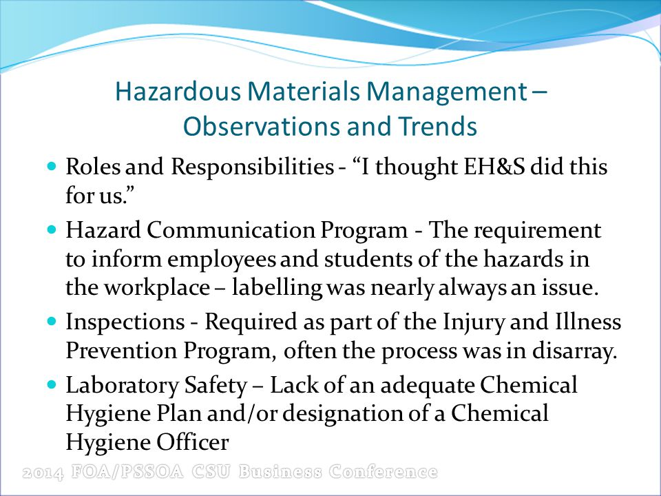 Hazardous Materials Management – Observations and Trends