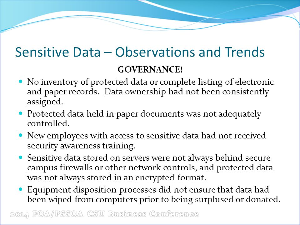 Sensitive Data – Observations and Trends