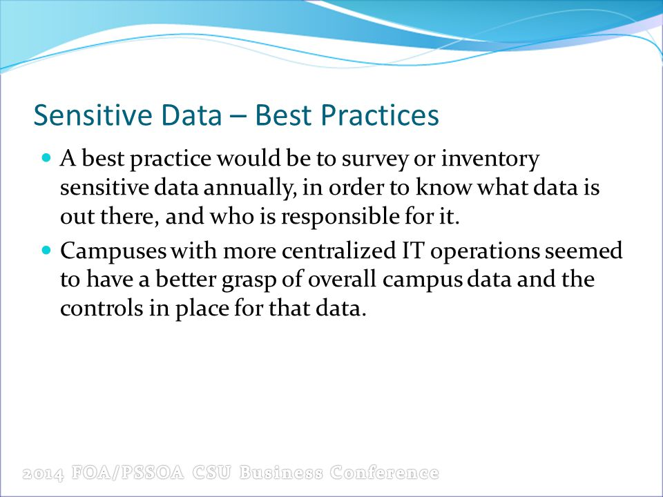Sensitive Data – Best Practices