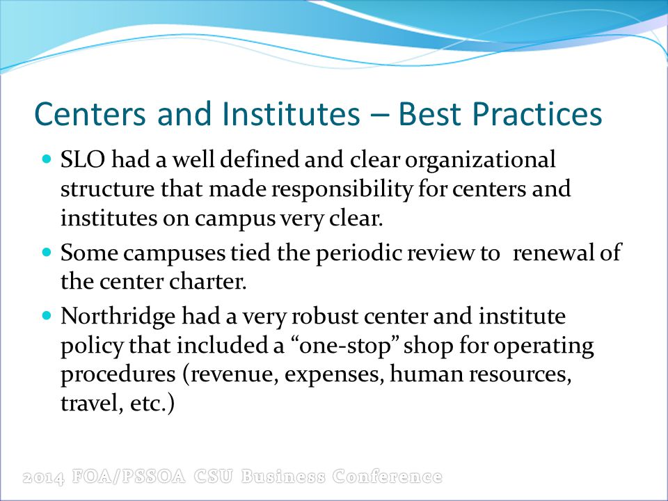Centers and Institutes – Best Practices