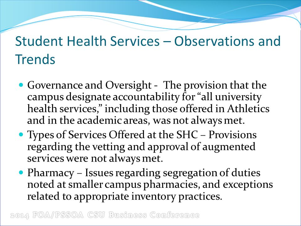 Student Health Services – Observations and Trends